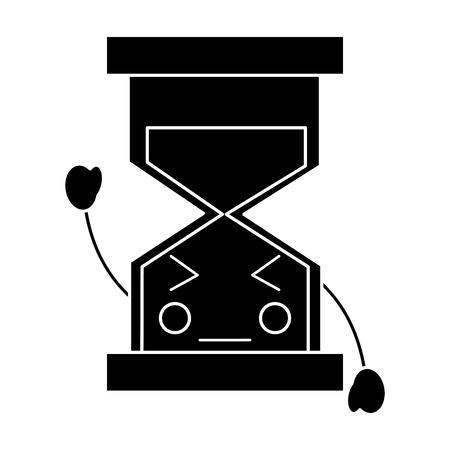 화가 모래 시계 가와이 아이콘 이미지 벡터 일러스트 디자인 흑백