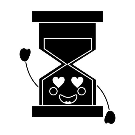 zandloper hart ogen pictogram afbeelding vector illustratie ontwerp zwart en wit