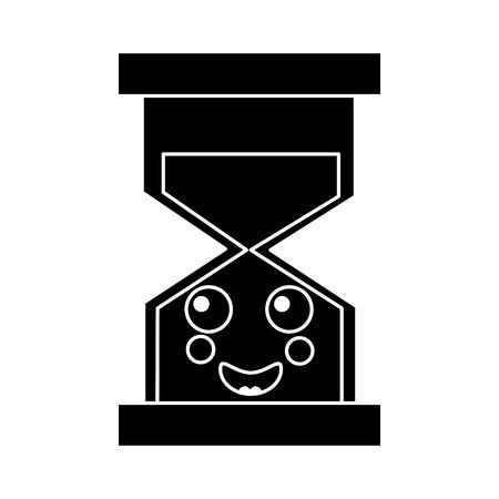 행복 한 모래 시계 아이콘 이미지 벡터 일러스트 레이 션 디자인 흑백 일러스트