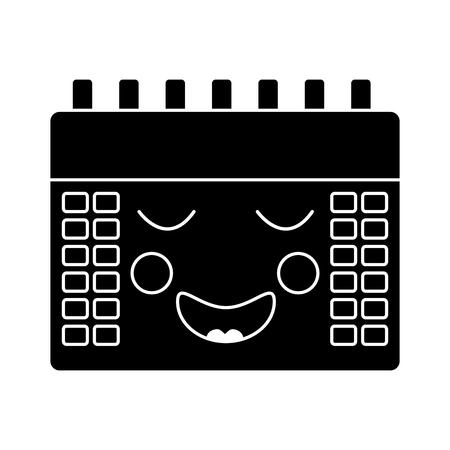 gelukkig kalender pictogram afbeelding vector illustratie ontwerp zwart en wit