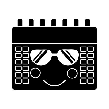 calendar with sunglasses icon image vector illustration design black and white