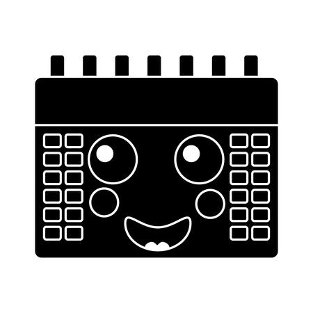 happy calendar kawaii icon image vector illustration design   black and white Illustration