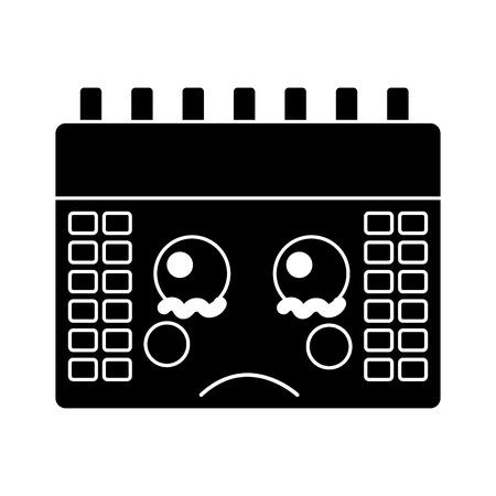 sad calendar icon image vector illustration design black and white