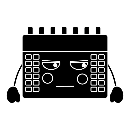 angry calendar icon image vector illustration design black and white Stock Vector - 94050374
