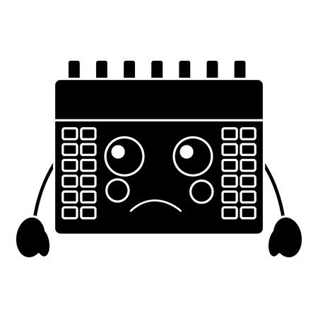 sad calendar kawaii icon image vector illustration design black and white Illustration
