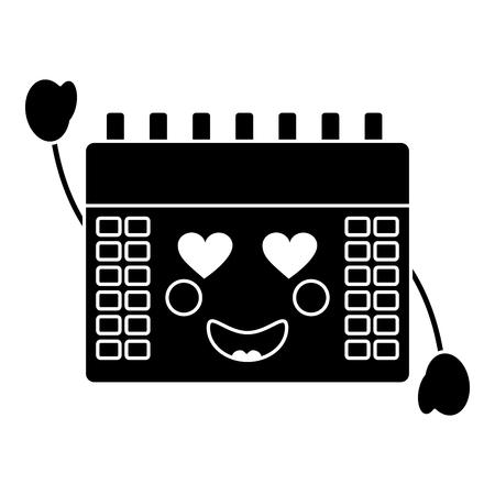 calendar with heart eyes icon image vector illustration design black and white Illustration