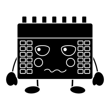 boos kalender pictogram afbeelding vector illustratie ontwerp zwart en wit Stock Illustratie