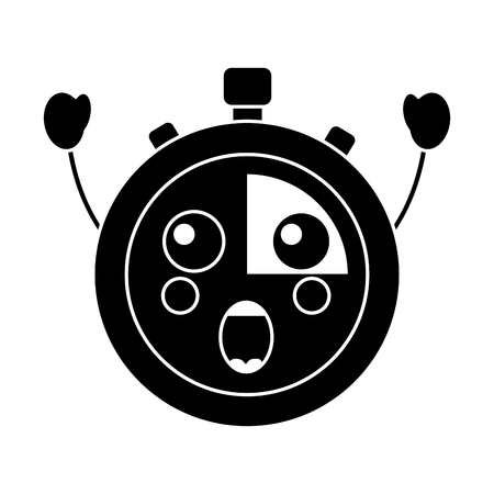 クロノメータースピードタイマー漫画キャラクターベクトルイラスト 黒と白の画像
