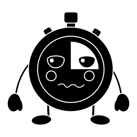 chronometer speed timer cartoon character vector illustration black and white image Illustration