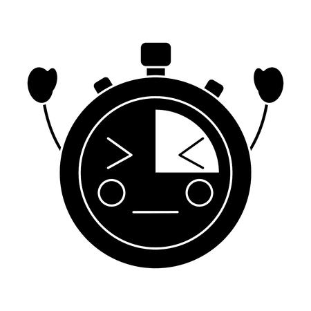 chronometer speed timer cartoon character vector illustration black and white image Ilustrace