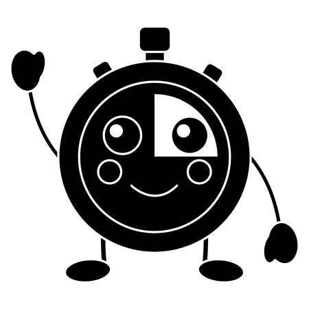 kawaii chronometer speed timer cartoon character vector illustration black and white image Illustration
