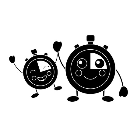 cartoon chronometer countdown speed timer object vector illustration black and white image 向量圖像