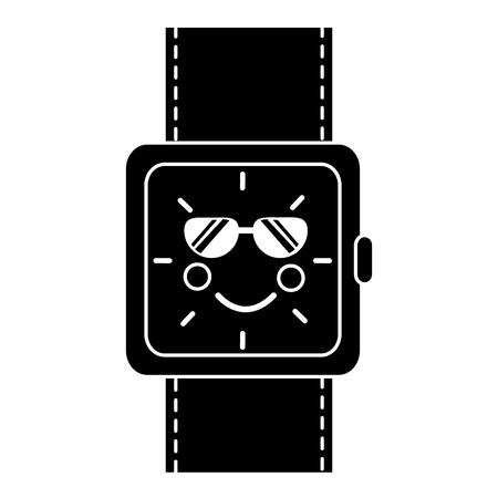 kawaii wrist watch bracelet square cartoon vector illustration black and white image