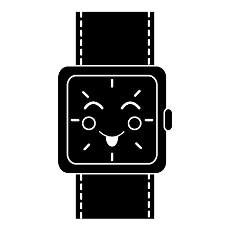 kawaii wrist watch bracelet square cartoon vector illustration black and white image