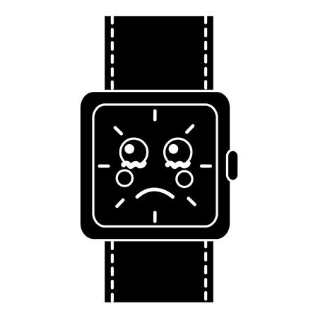 wrist watch bracelet square cartoon vector illustration black and white image