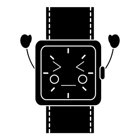 wrist watch bracelet square cartoon vector illustration black and white image