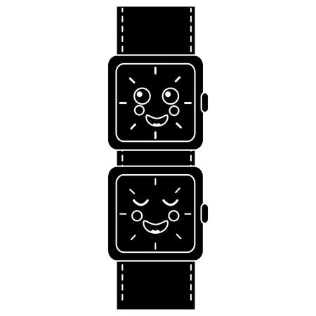 만화 손목 시계 문자 벡터 일러스트 흑백 이미지 일러스트
