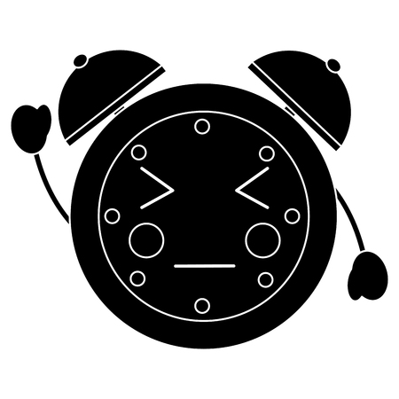 cartoon clock alarm character vector illustration black and white image