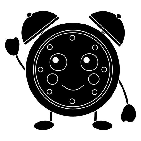 kawaii cartoon clock alarm character vector illustration black and white image
