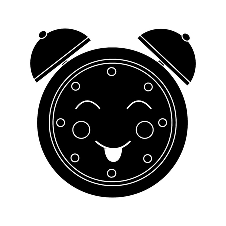 cartoon clock alarm character vector illustration black and white image