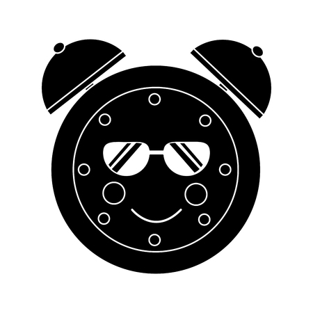 cartoon clock alarm sunglasses character vector illustration black and white image