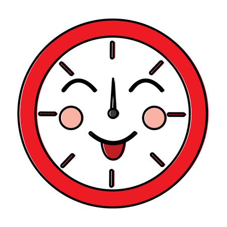 ラウンドクロックタイム漫画キャラクターベクトルイラストアウトラインデザイン  イラスト・ベクター素材