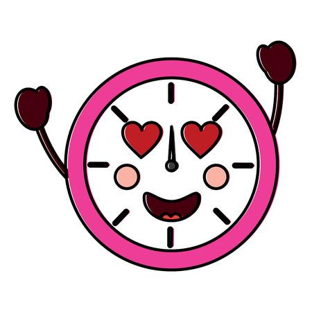 Kawaii ronde klok tijd cartoon karakter vector illustratie overzicht ontwerp Stockfoto - 94115718