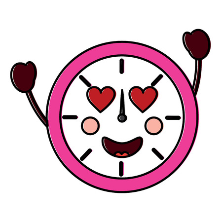 kawaii round clock time cartoon character vector illustration outline design 向量圖像