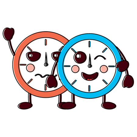two kawaii clock character cartoon style vector illustration