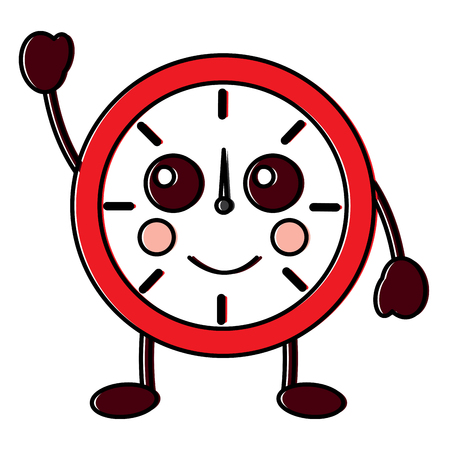 Kawaii ronde klok tijd cartoon karakter vector illustratie overzicht ontwerp