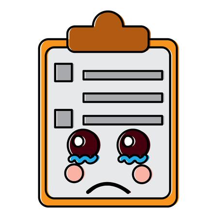 Paper cry clipboard character cartoon vector illustration Çizim