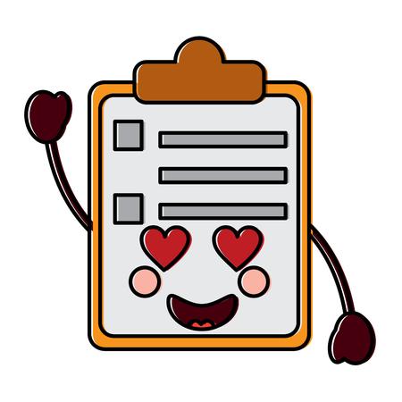 clipboard  heart eyes   kawaii icon image vector illustration design