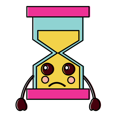 sad hourglass kawaii icon image vector illustration design Vettoriali
