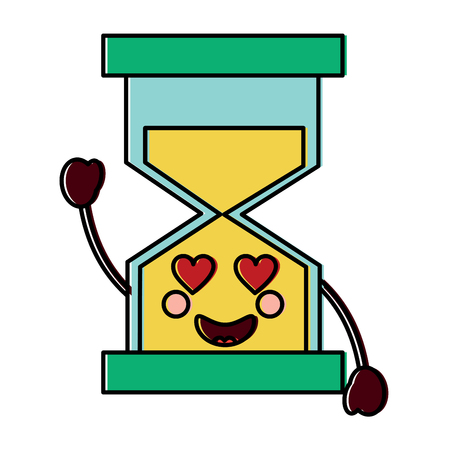 hourglass heart eyes  kawaii icon image vector illustration design