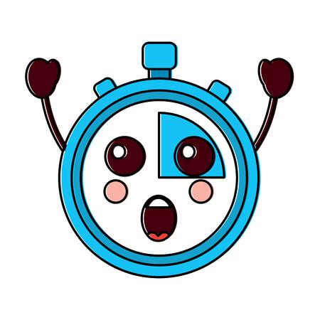 surprised chronometer kawaii icon image vector illustration design