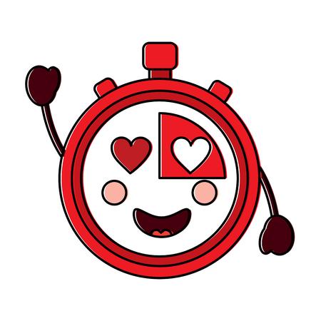 chronometer met hart ogen kawaii pictogram afbeelding vector illustratie ontwerp Stock Illustratie