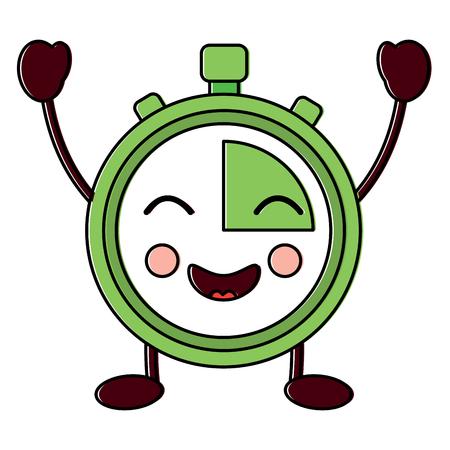 gelukkig chronometer kawaii pictogram afbeelding vector illustratie ontwerp Stock Illustratie