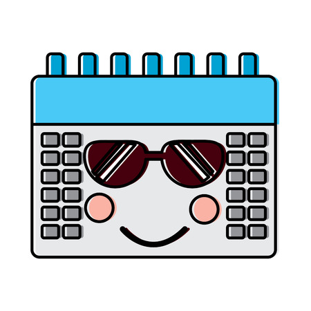 calendar with sunglasses kawaii icon image vector illustration design Illustration
