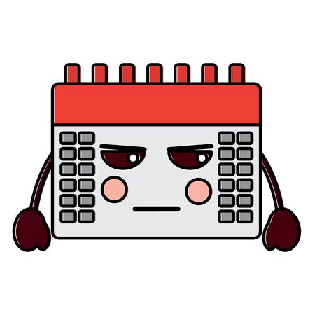 angry calendar kawaii icon image vector illustration design