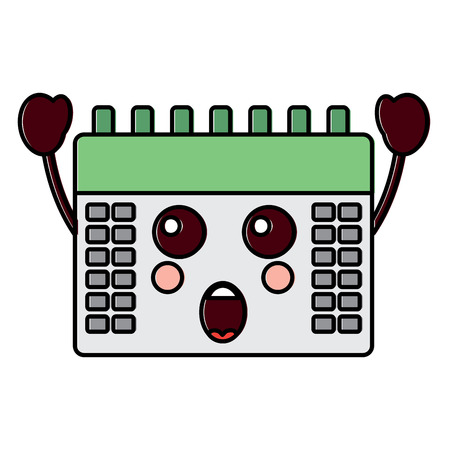 Ssurprised calendar kawaii icon image vector illustration design. 向量圖像