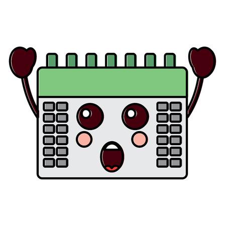 Ssurprised ontwerp van de het pictogrambeeld van kalenderkawaii het vectorillustratie.