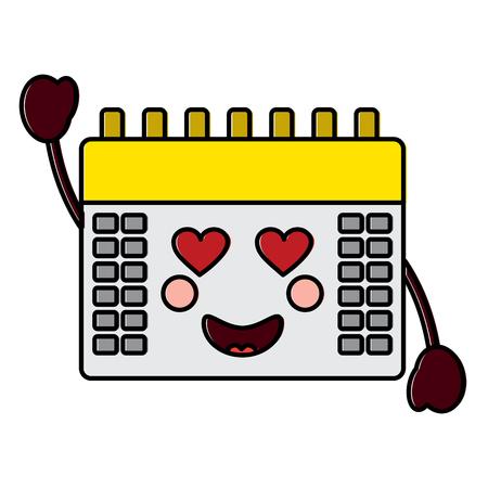 Calendar with heart eyes kawaii icon image vector illustration design.