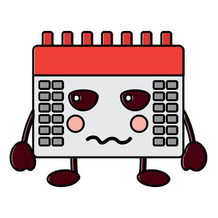 Angry calendar kawaii icon image vector illustration design. Ilustração