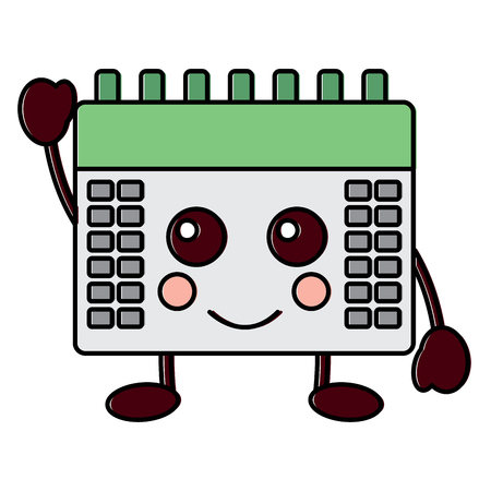 Happy calendar kawaii icon image vector illustration design.