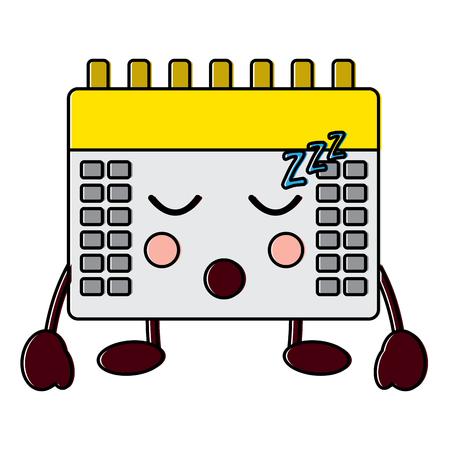 Calendar sleeping kawaii icon image vector illustration design.