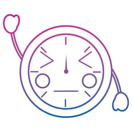 Kawaii ronde klok tijd cartoon karakter vector illustratie overzicht ontwerp kleur lijn kleurverloop
