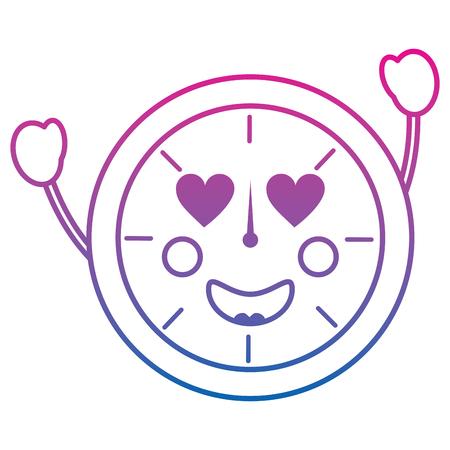 Ronde klok tijd cartoon karakter vector illustratie overzicht ontwerp kleur lijn verloop Stock Illustratie