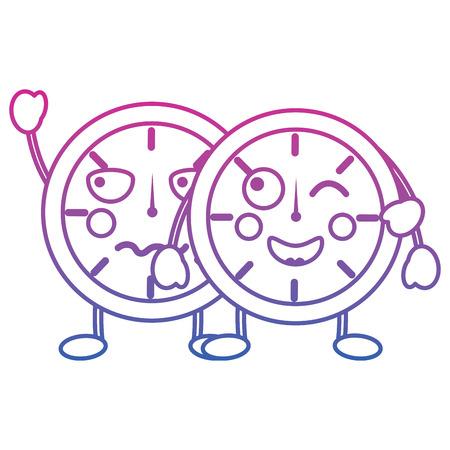 Two kawaii clock character cartoon style vector illustration color line gradient Иллюстрация