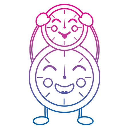 Two clock character cartoon style vector illustration color line gradient Иллюстрация