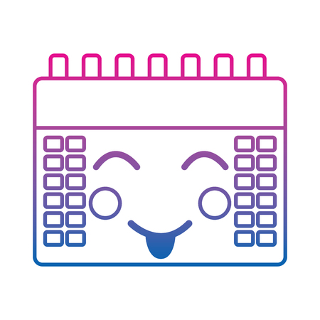 Calendar event cute kawaii cartoon vector illustration color line gradient